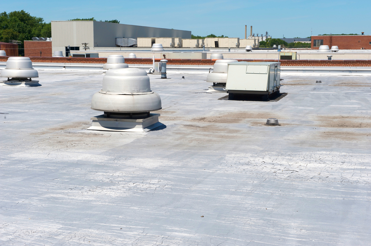 A commercial roof mad of modified bitumen