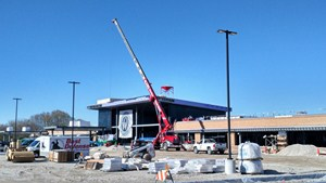 Flat roof being installed on Wisconsin store